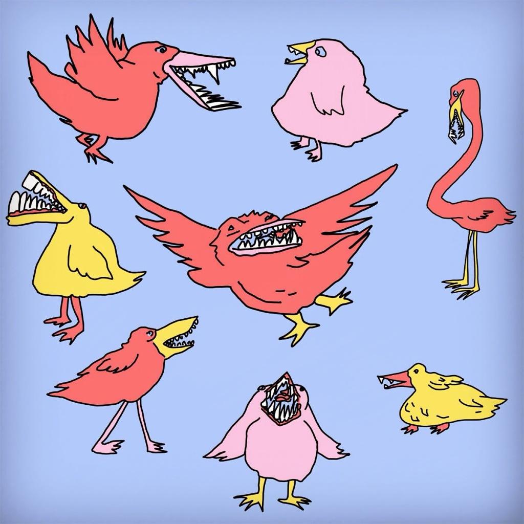 Birds with Teeth on Blue