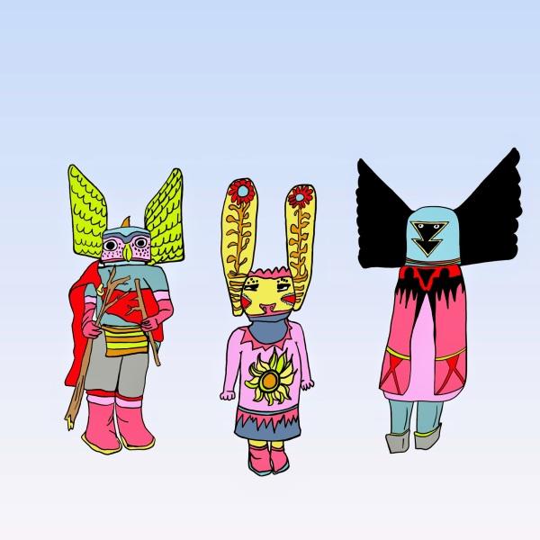 3 Figures: Illustrations of Hopi Katsinam Dolls.