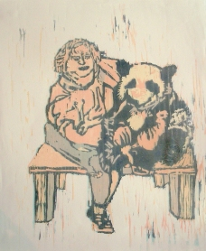 $100 Dollar Panda Hug, wood cut 2010