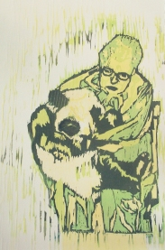 $100 Dollar Panda Hug, wood cut2010