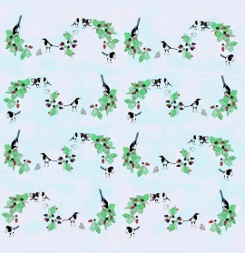 Magpies wallpaper pattern by Zoe Phillips 2014.